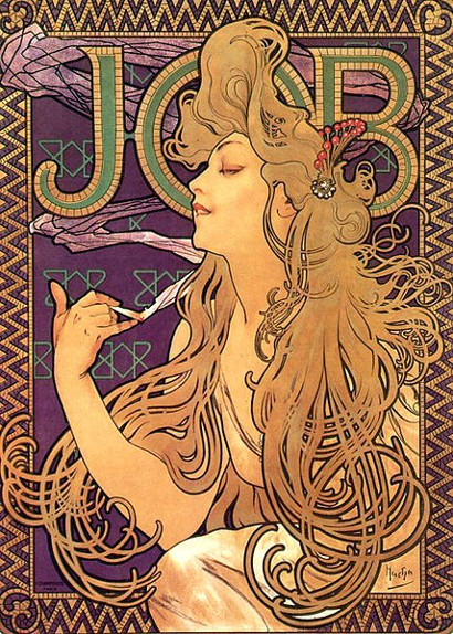 Alphonse Mucha, Job Cigarettes, Poster, Art Nouveau, Advertisement